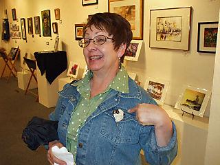 Carma Koester Wearing Sheep Pin