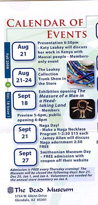 The Bead Museum Calendar