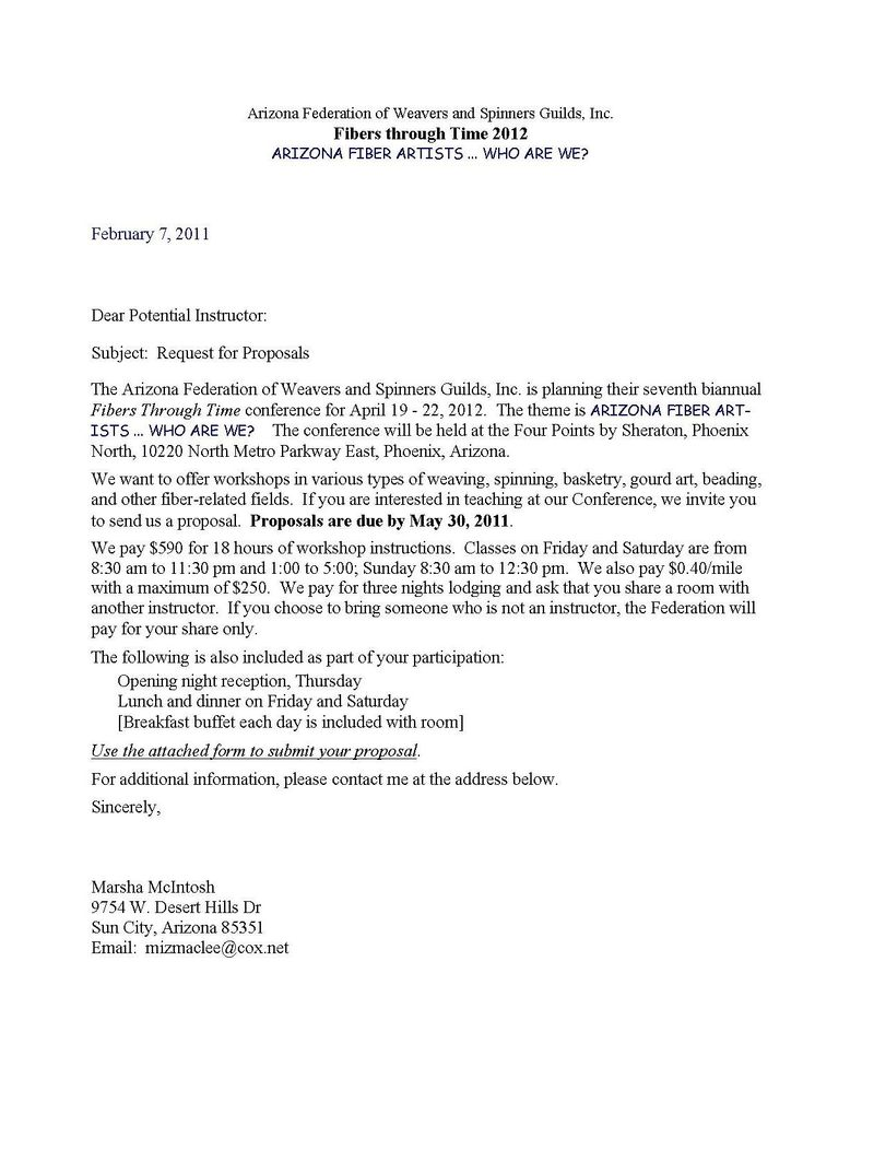 Letter requesting  Proposal 2011